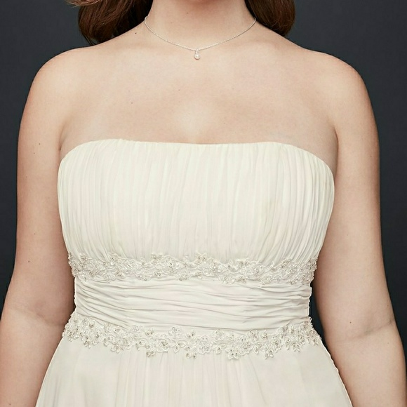 David\'s Bridal Dresses | Chiffon Empire Waist Wedding Dress Ivory ...